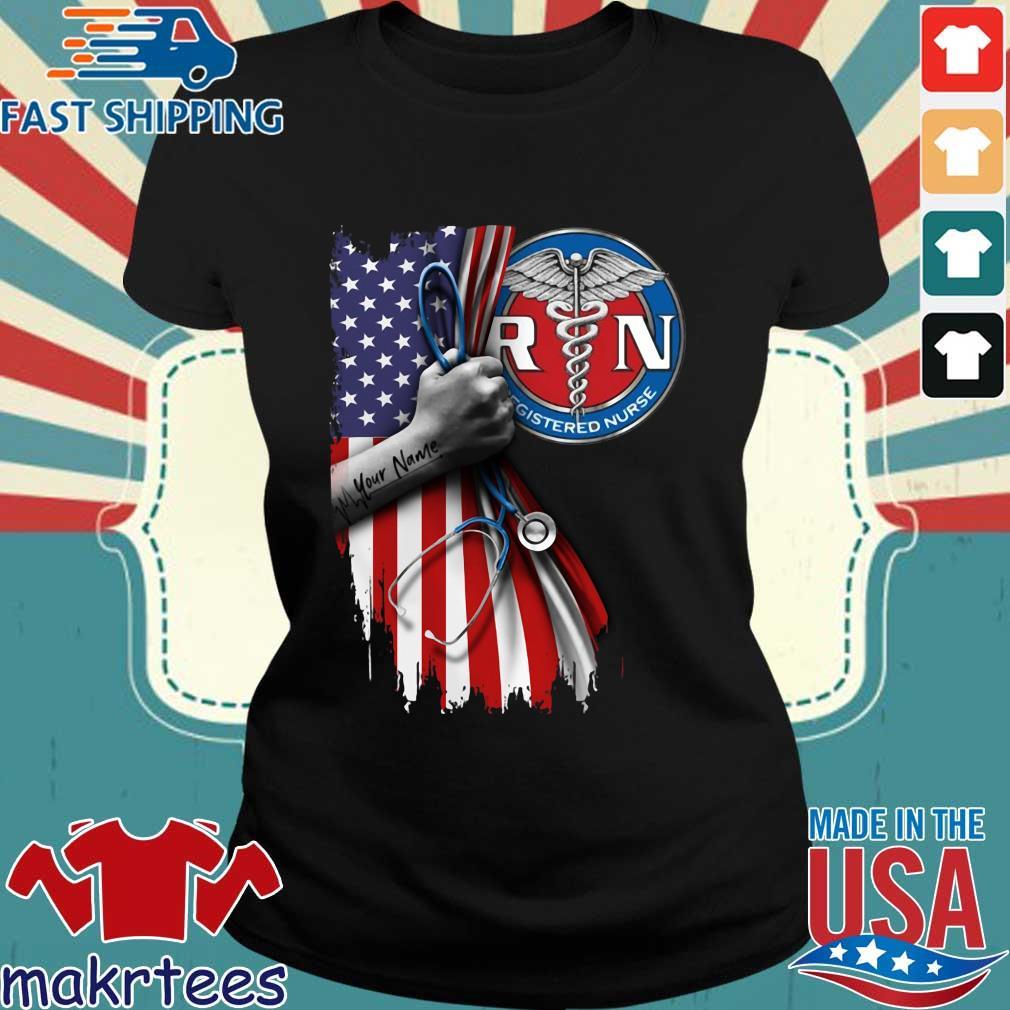 Rn Registered Nurse Inside American Flag Shirt Ladies den