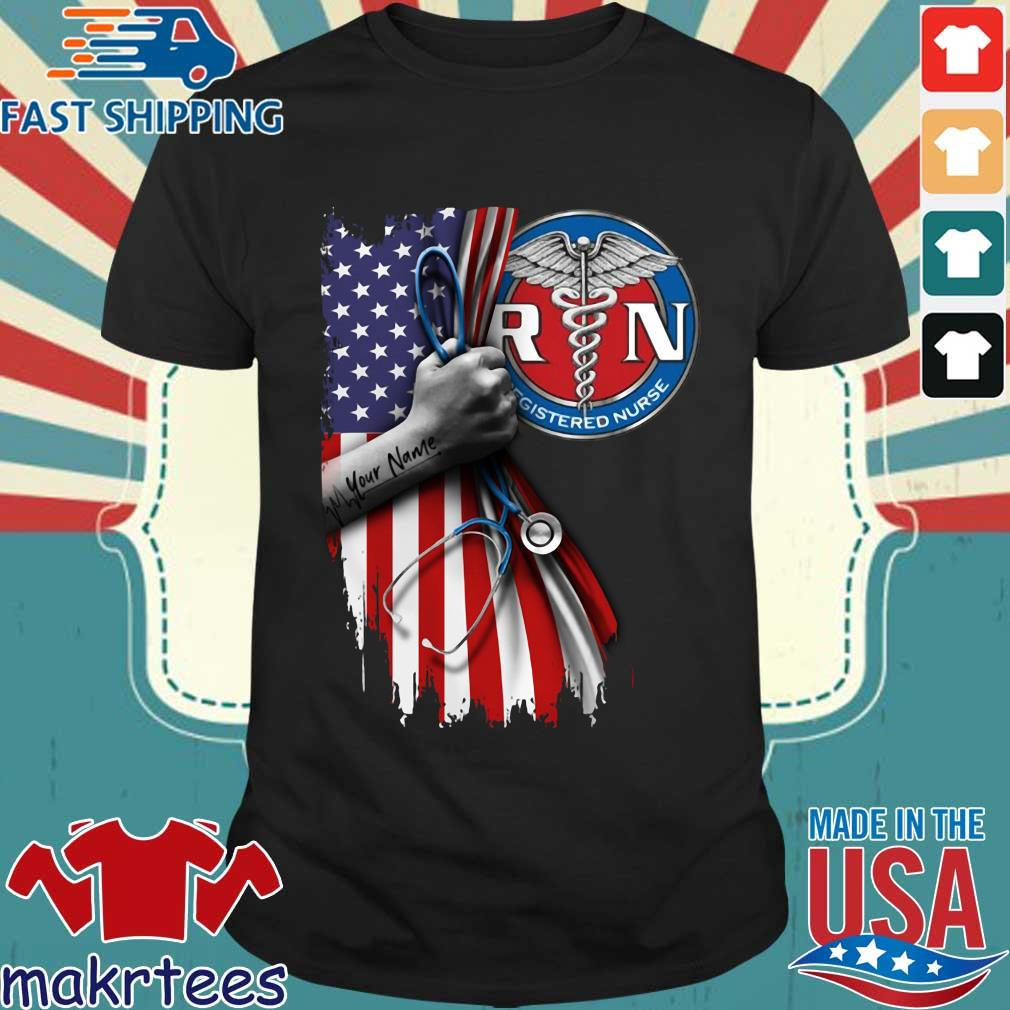 Rn Registered Nurse Inside American Flag Shirt