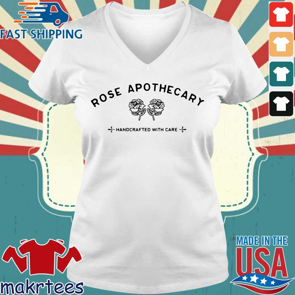 Rose Apothecary Handcrafted With Care Shirt Ladies V-neck trang