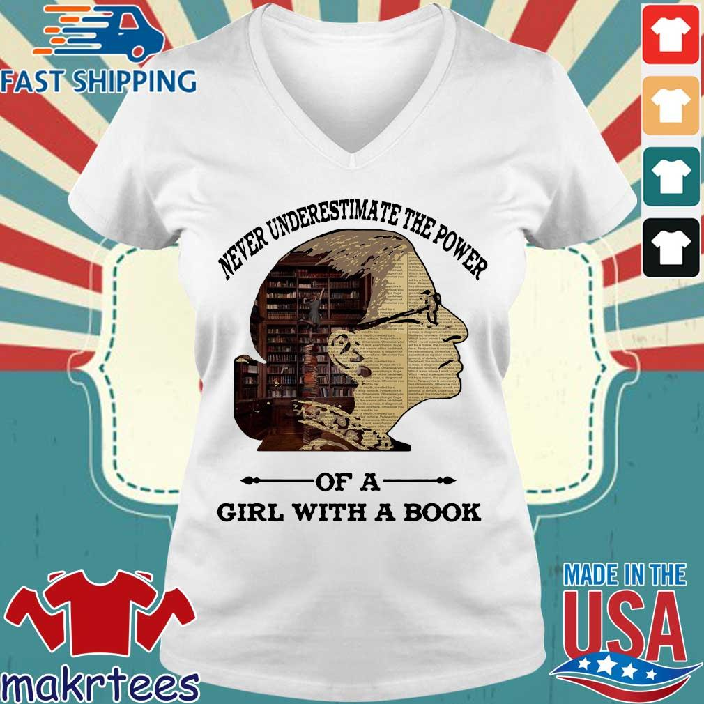 Ruth Bader Ginsburg Never Underestimate The Power Of Girl With A Book Shirt Ladies V-neck trang