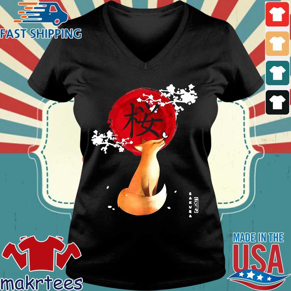 Sakura Cherry Blossom Fox Shirt Ladies V-neck den