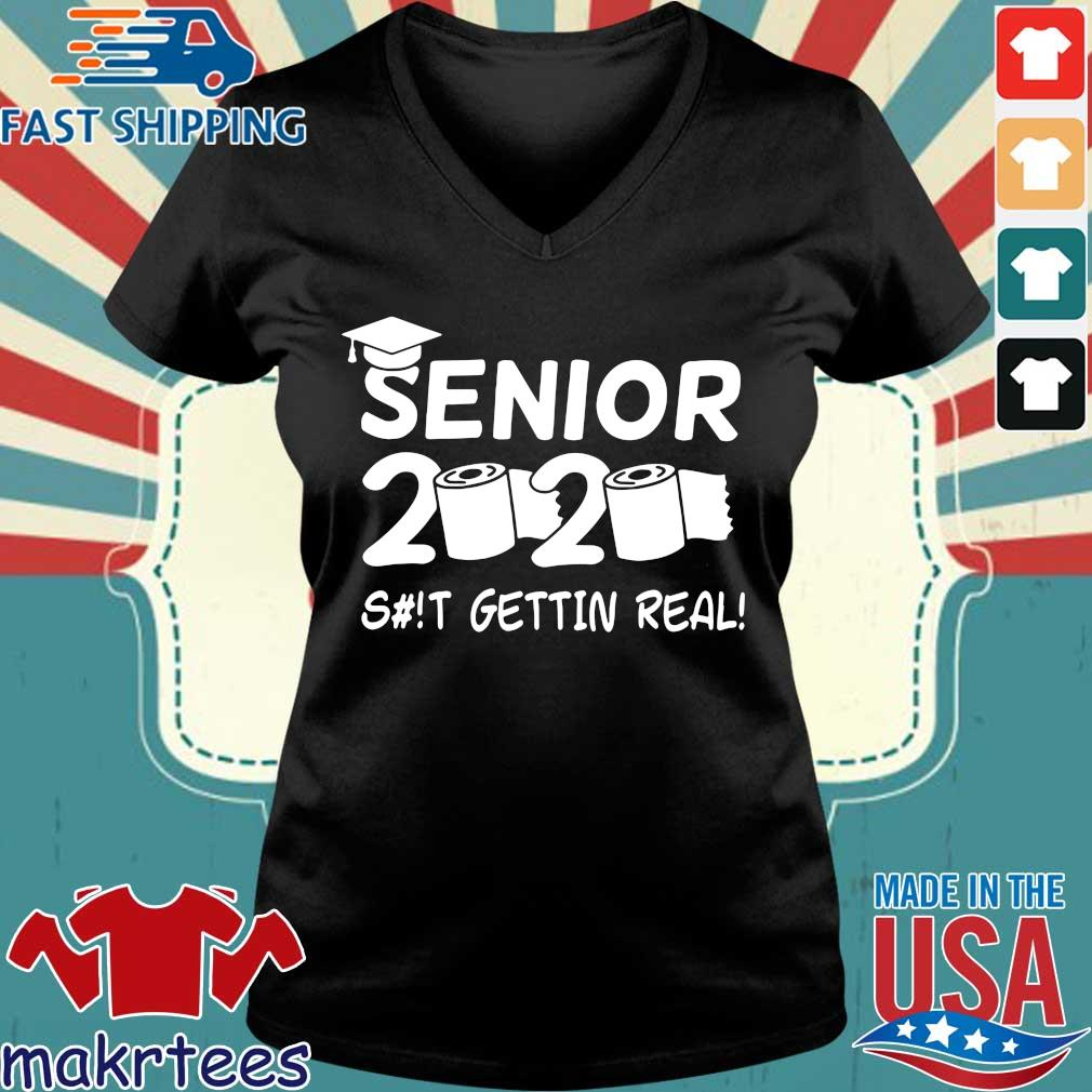 Seniors 2020 Getting Real Funny Toilet Paper Graduation Day Class Of 2020 Shirt Ladies V-neck den