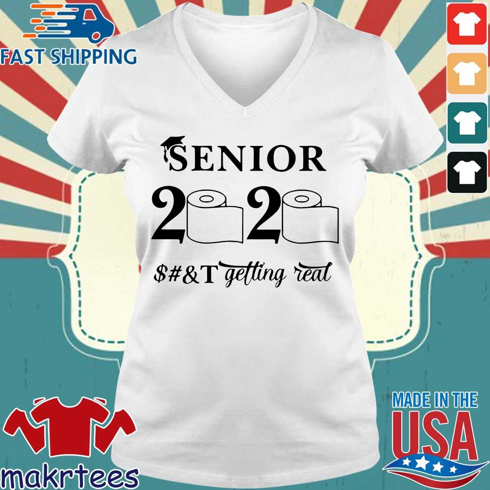 Seniors 2020 Getting Real Funny Toilet Paper Graduation Day Class of 2020 Tee Shirt Ladies V-neck trang