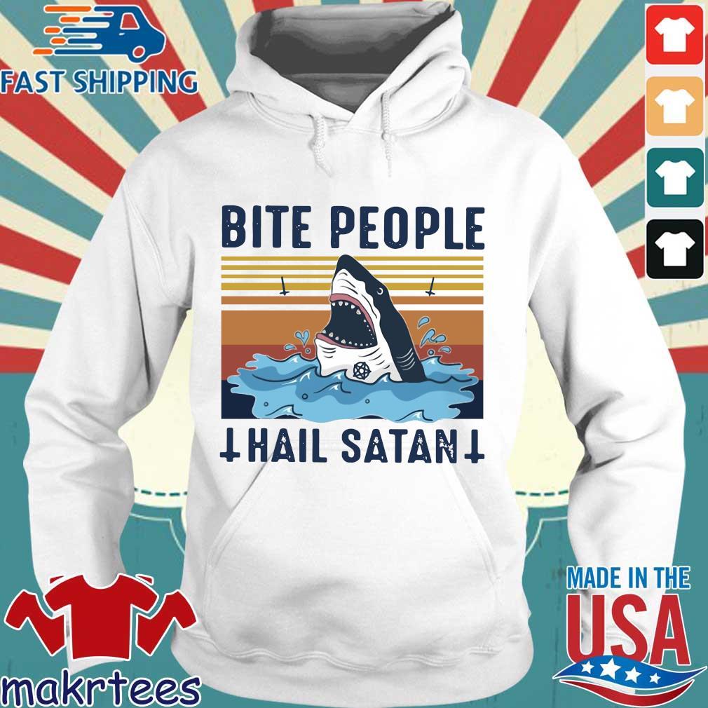 Shark Bite People Hail Satan Vintage Shirt Hoodie trang
