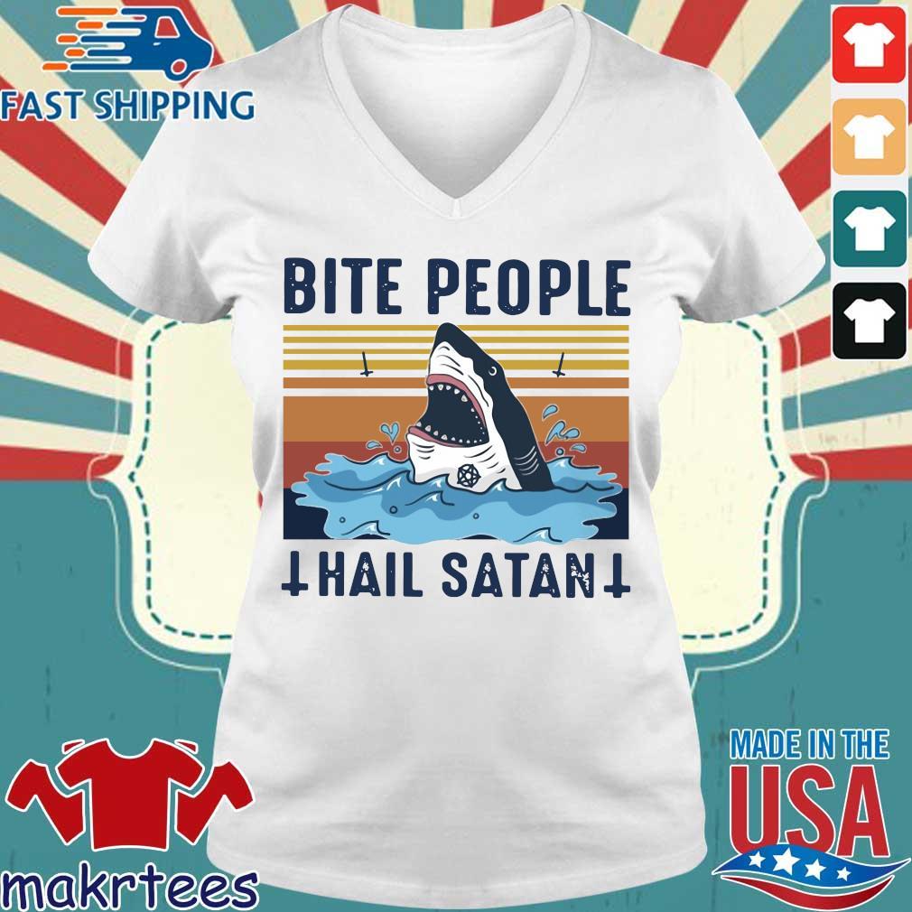 Shark Bite People Hail Satan Vintage Shirt Ladies V-neck trang