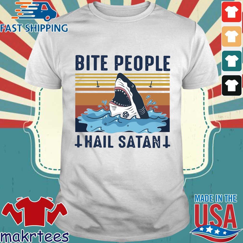 Shark Bite People Hail Satan Vintage Shirt