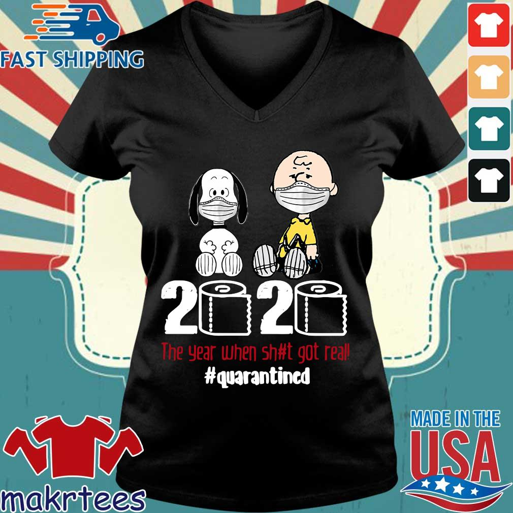 Snoopy And Charlie Brown 2020 The Year When Shit Got Real Quarantined Toilet Paper Mask Shirt Ladies V-neck den