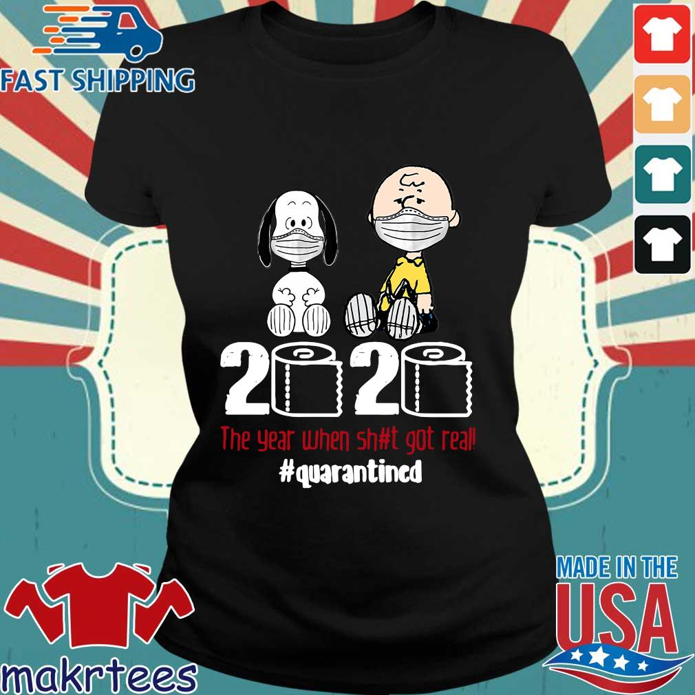 Snoopy And Charlie Brown 2020 The Year When Shit Got Real Quarantined Toilet Paper Mask Shirt Ladies den