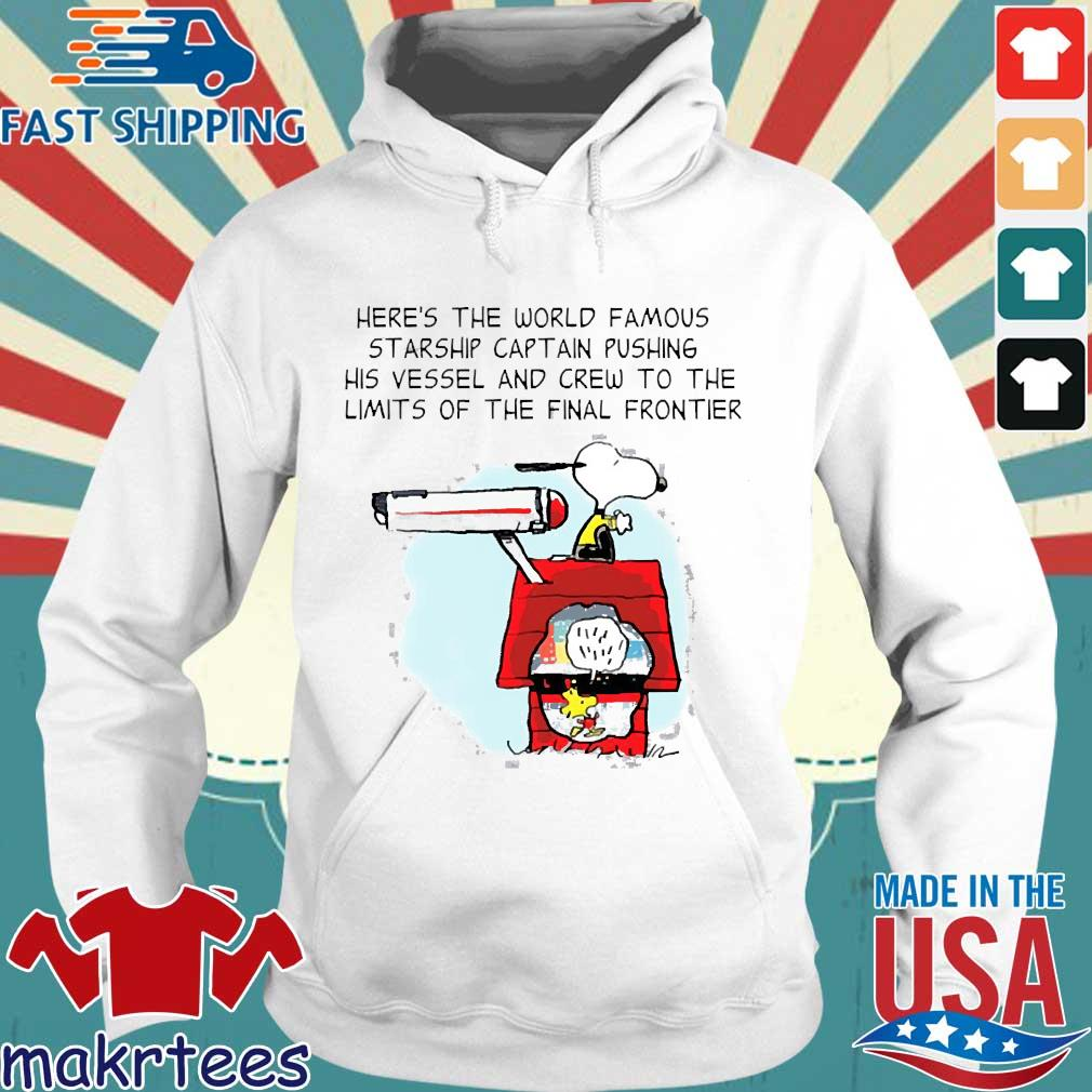 Snoopy Here's The World Famous Starship Captain Pushing His Vessel And Crew To The Limits Of The Final Frontier Shirt Hoodie trang