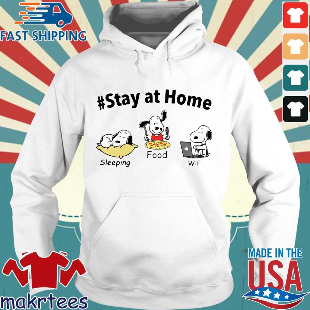 Snoopy Stay At Home Sleeping Food Wifi Shirt Hoodie trang