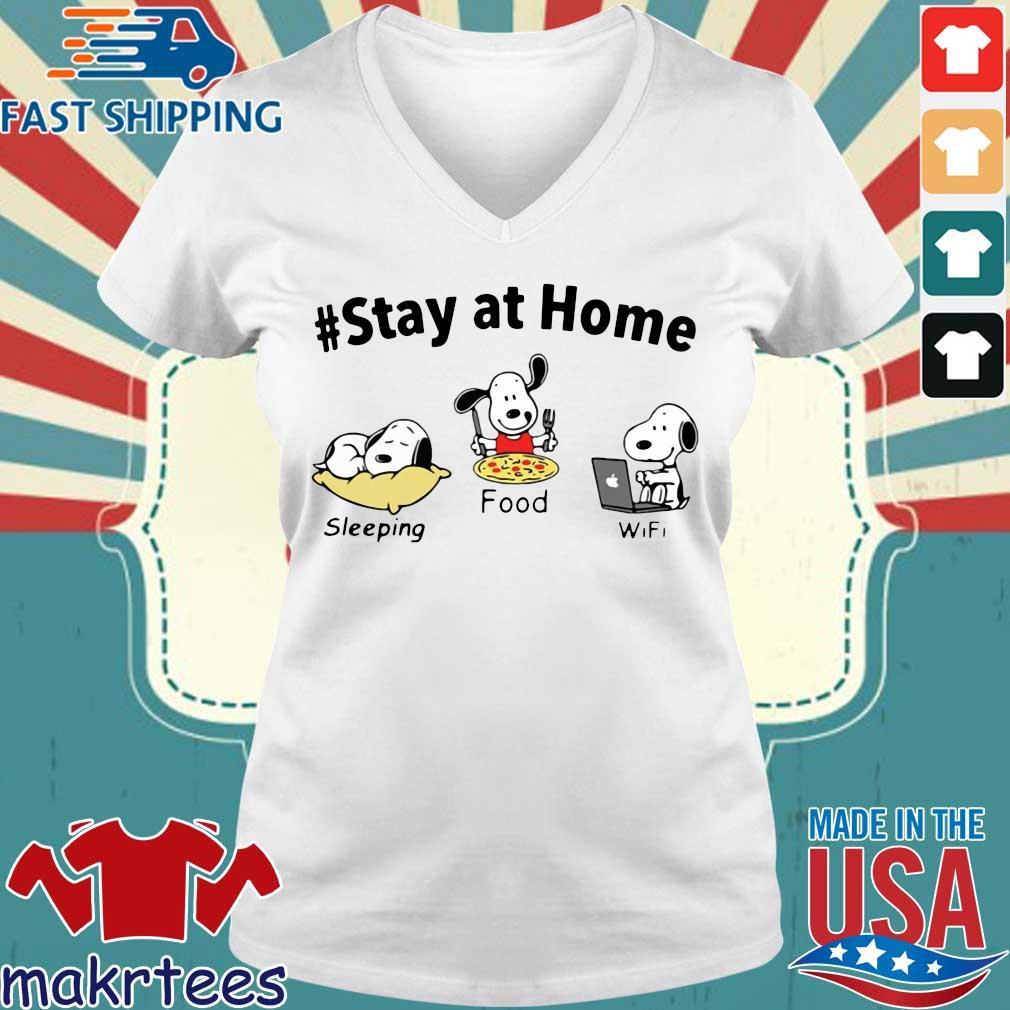 Snoopy Stay At Home Sleeping Food Wifi Shirt Ladies V-neck trang