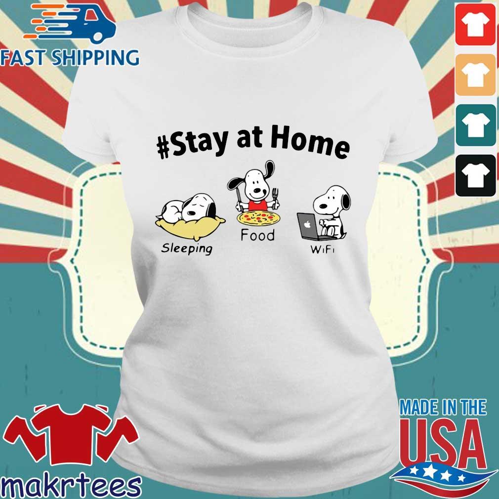 Snoopy Stay At Home Sleeping Food Wifi Shirt Ladies trang