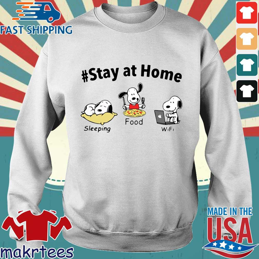 Snoopy Stay At Home Sleeping Food Wifi Shirt Sweater trang