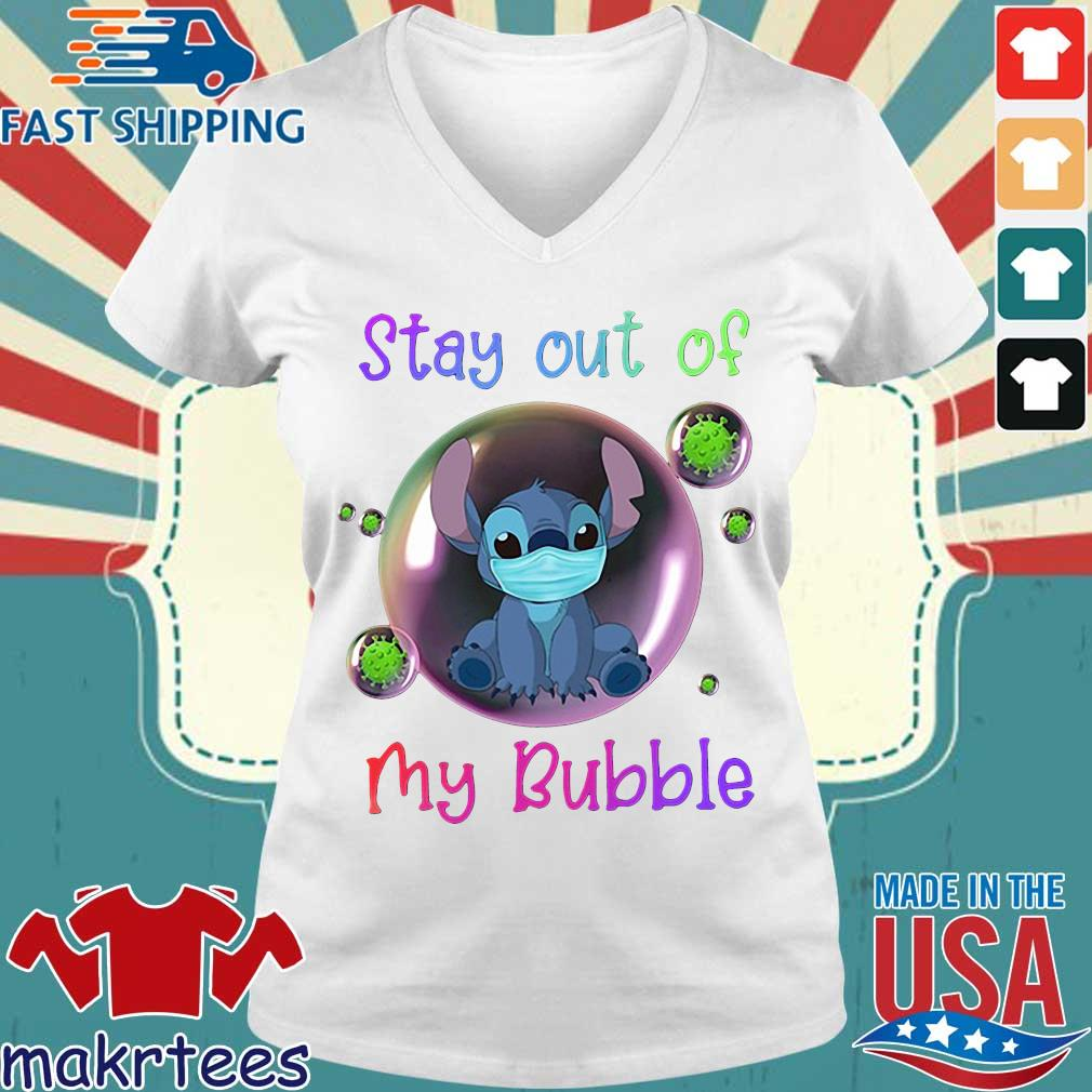 Stay Out Of My Bubble Stitch Lovers Shirt Ladies V-neck trang