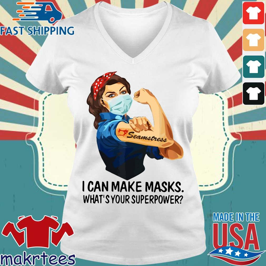 Strong Girl Tattoo Quilter I Can Make Masks What's Your Superpower Shirt Ladies V-neck trang