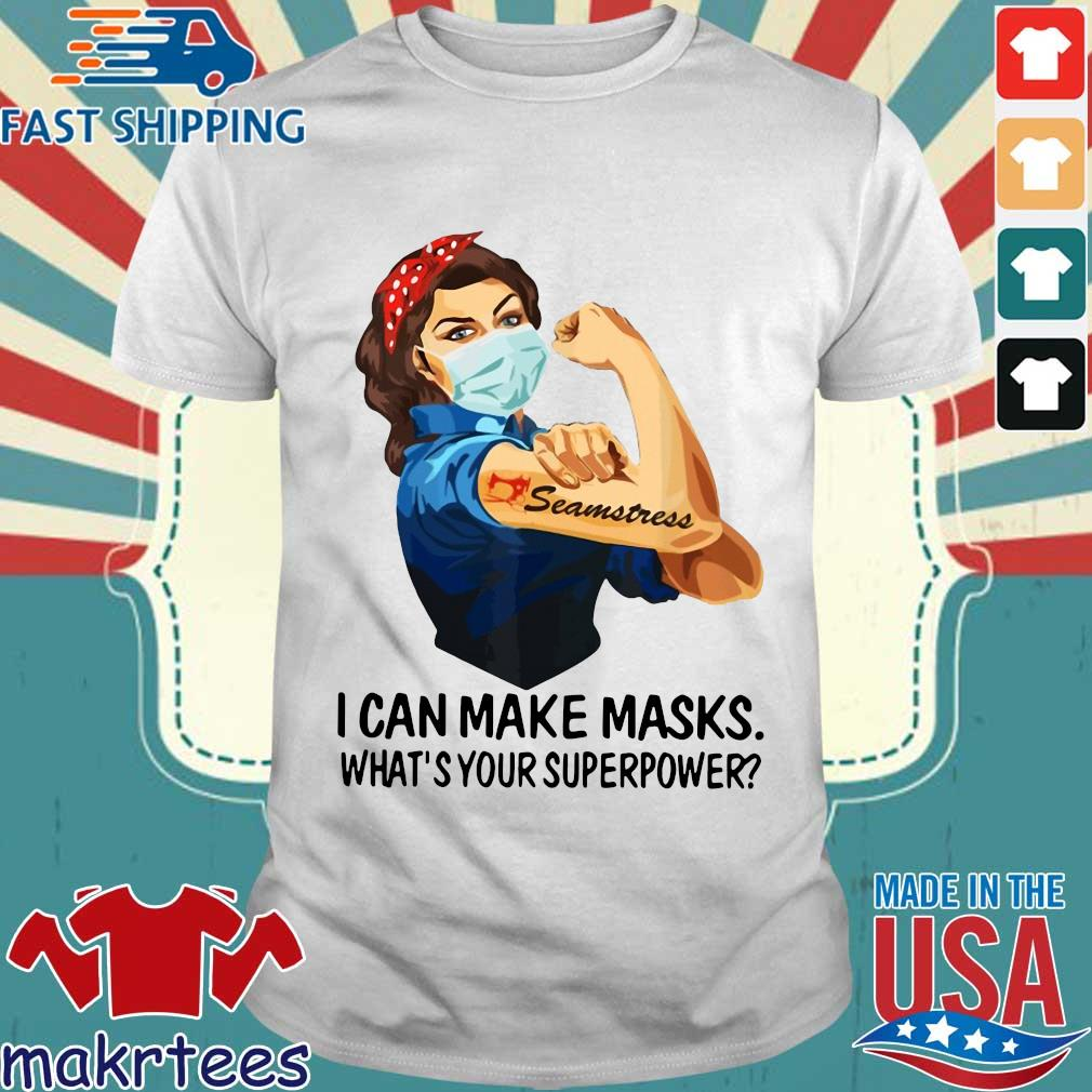 Strong Girl Tattoo Quilter I Can Make Masks What's Your Superpower Shirt