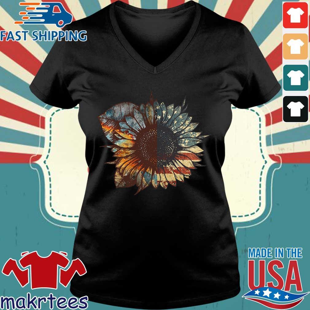 Sunflower American Flag Vintage Shirt Ladies V-neck den