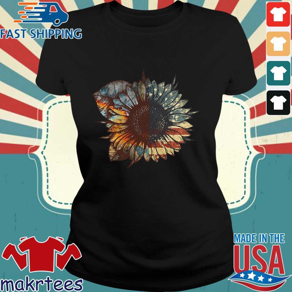 Sunflower American Flag Vintage Shirt Ladies den