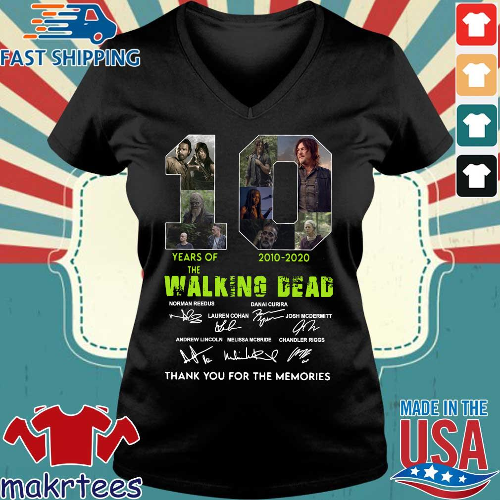 Thank You For The Memories 10 Years Of The Walking Dead 2010-2020 Signatures Shirt Ladies V-neck den