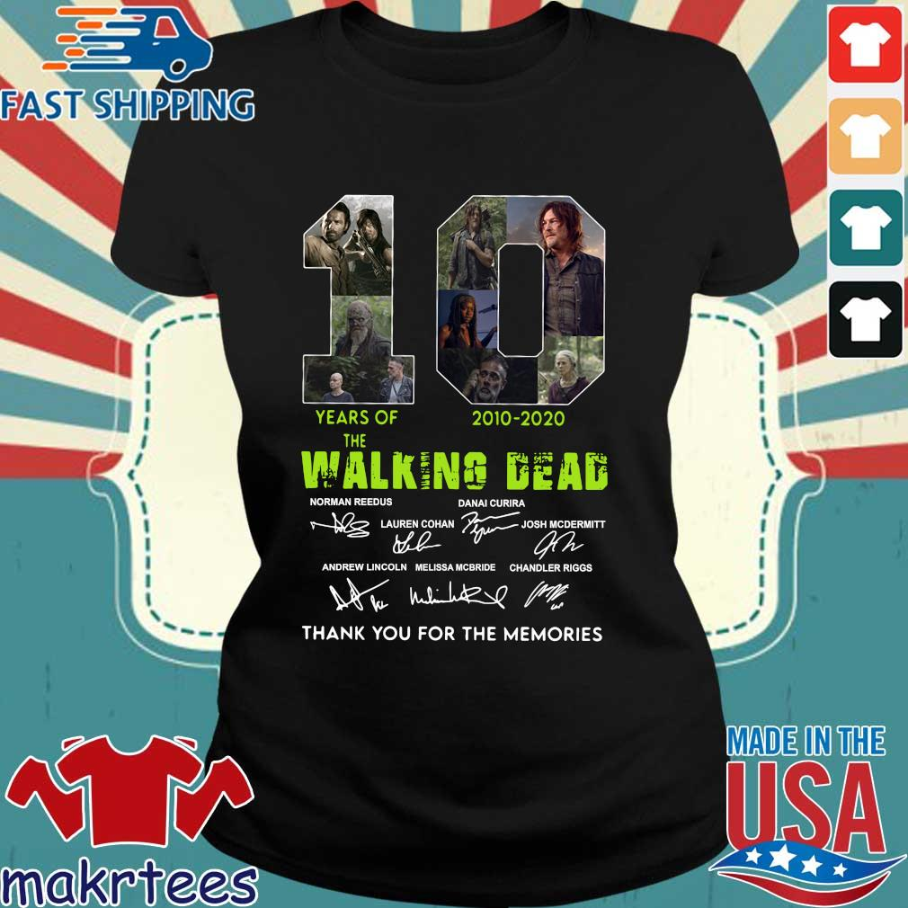 Thank You For The Memories 10 Years Of The Walking Dead 2010-2020 Signatures Shirt Ladies den