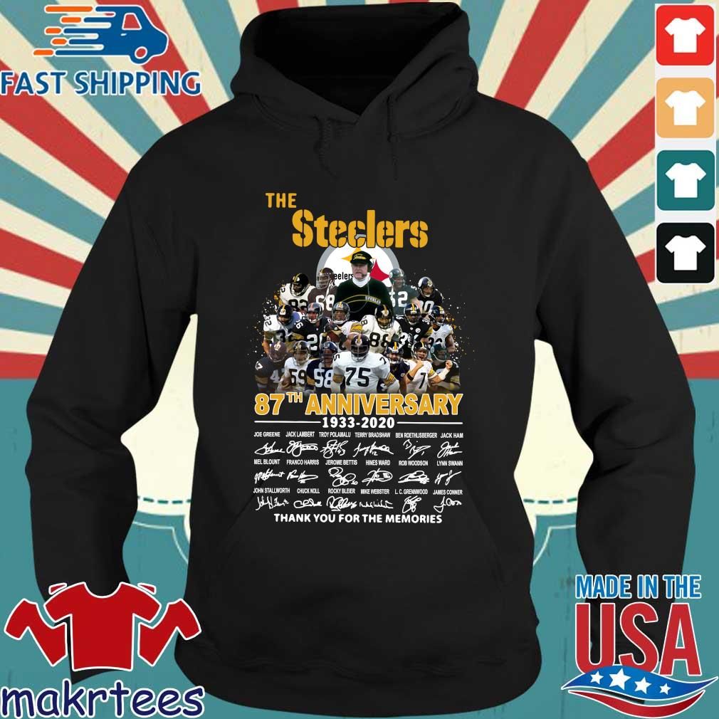 The Pittsburgh Steelers 87th Anniversary 1933-2020 Signatures Thank You For The Memories Shirt Hoodie den