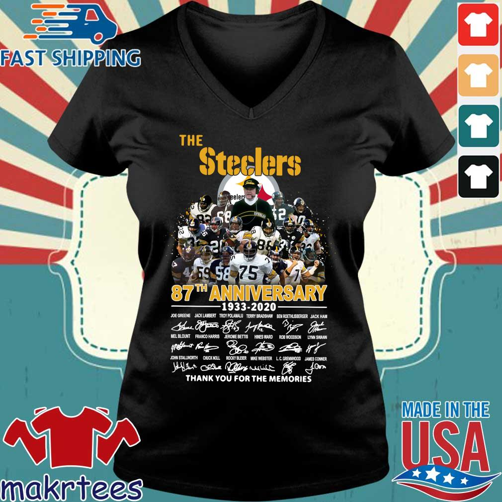 The Pittsburgh Steelers 87th Anniversary 1933-2020 Signatures Thank You For The Memories Shirt Ladies V-neck den