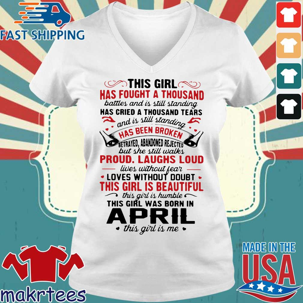 This Girl Was Born In April This Girl Is Me Crewneck Shirt Ladies V-neck trang