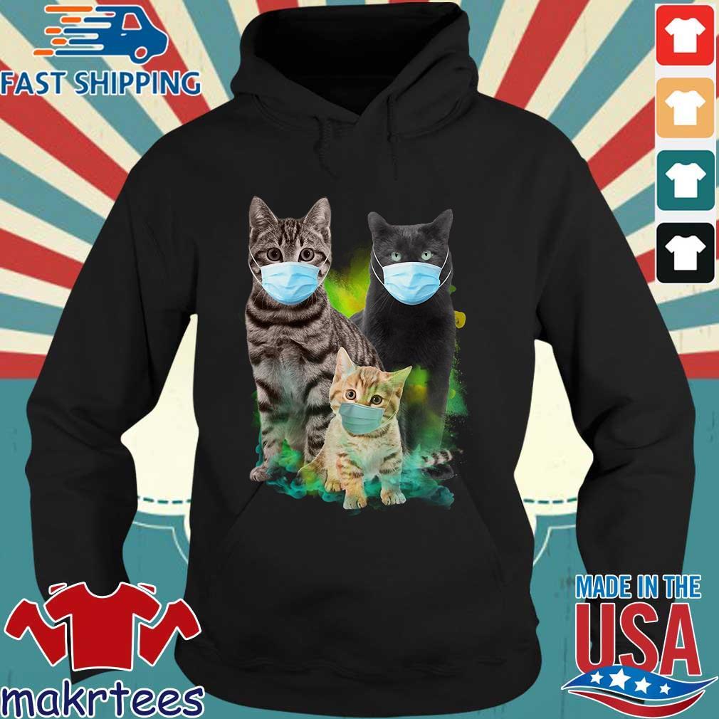 Three Cat Wear Face Mask Shirt Hoodie den