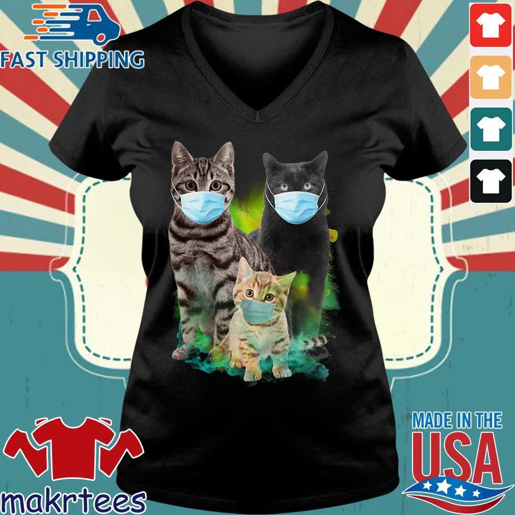 Three Cat Wear Face Mask Shirt Ladies V-neck den