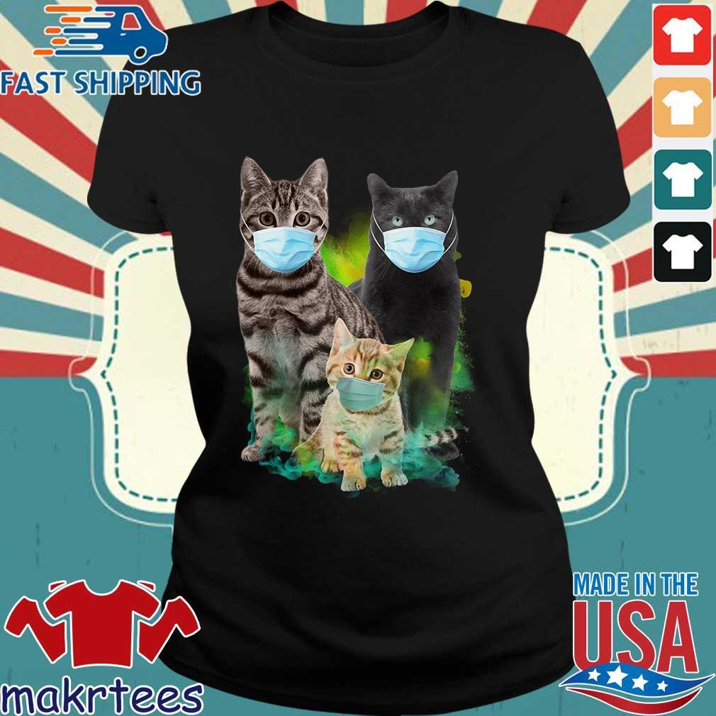 Three Cat Wear Face Mask Shirt Ladies den