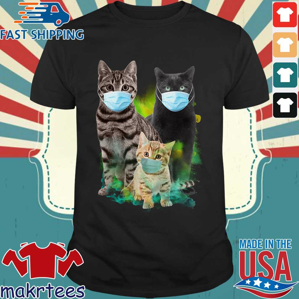 Three Cat Wear Face Mask Shirt