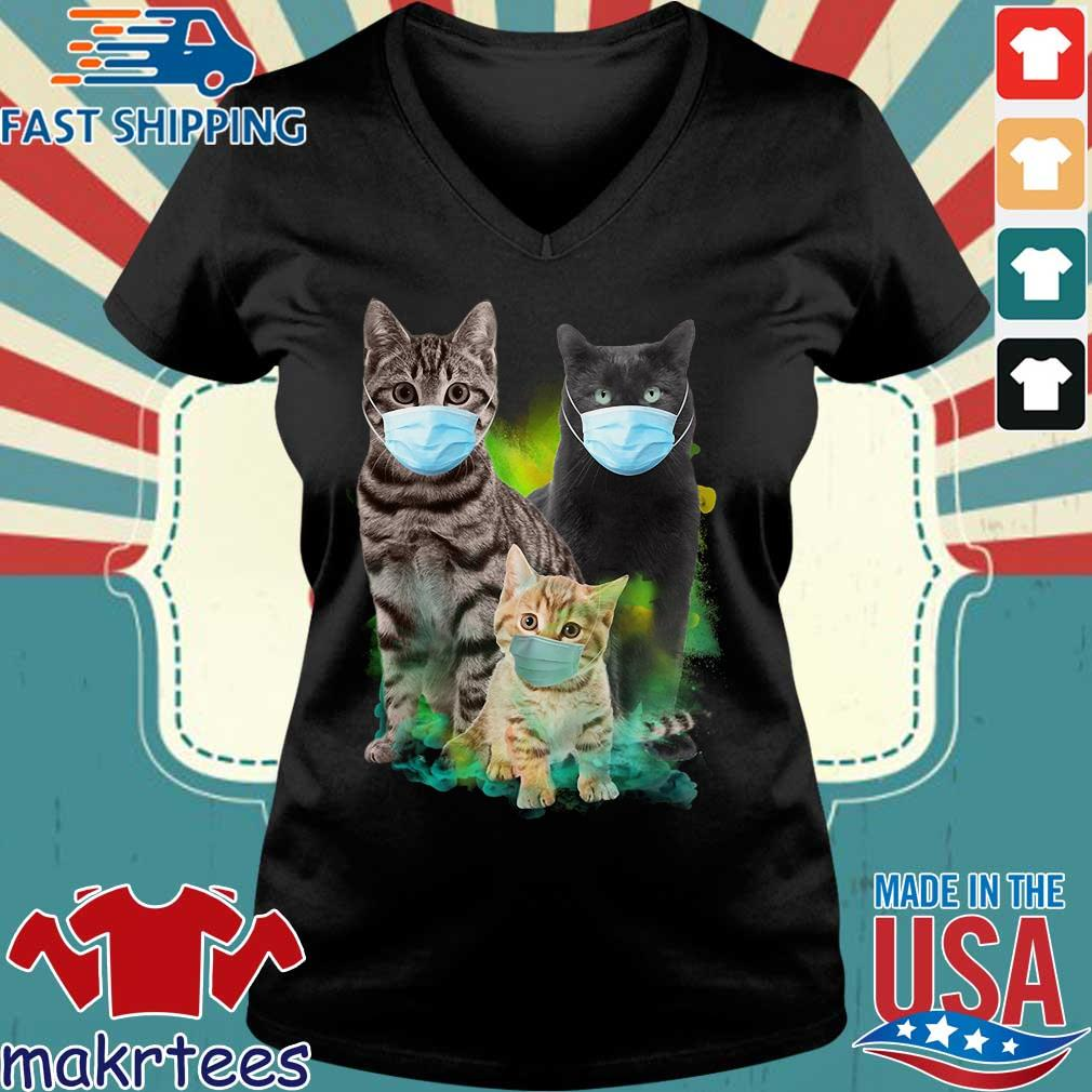 Three Cats Wear Medical Mask Shirt Ladies V-neck den