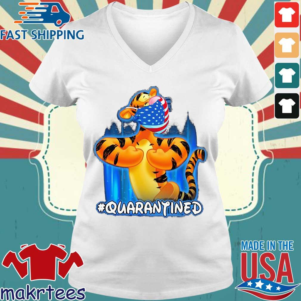 Tiger Quarantined American Flag Mask Disney Shirt Ladies V-neck trang