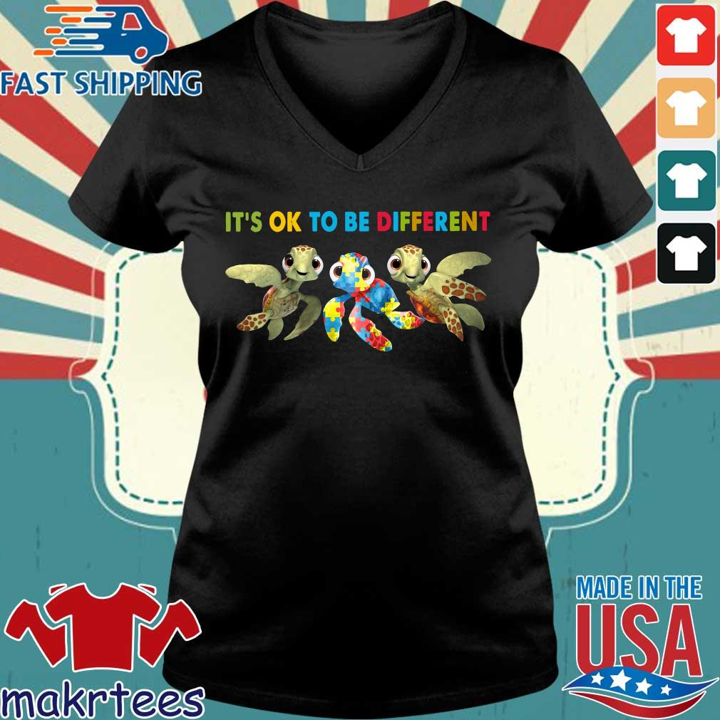 Turtle Autism It's Ok To Be Different Shirt Ladies V-neck den