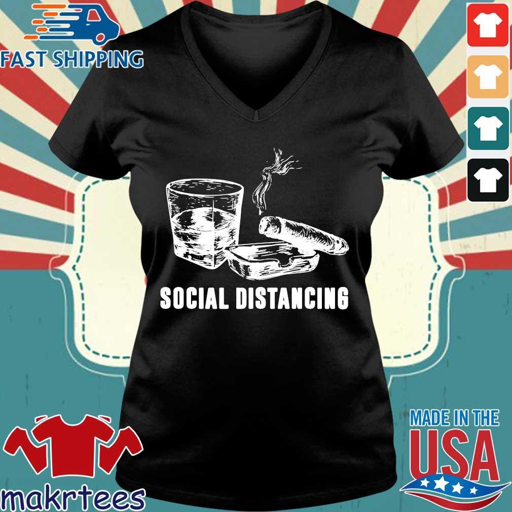 Wine And Smoking Social Distancing Shirt Ladies V-neck den