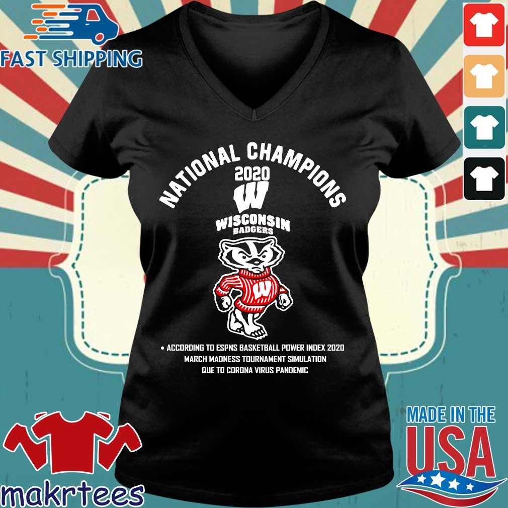 Wisconsin Badgers National Champions 2020 Tee Shirt Ladies V-neck den