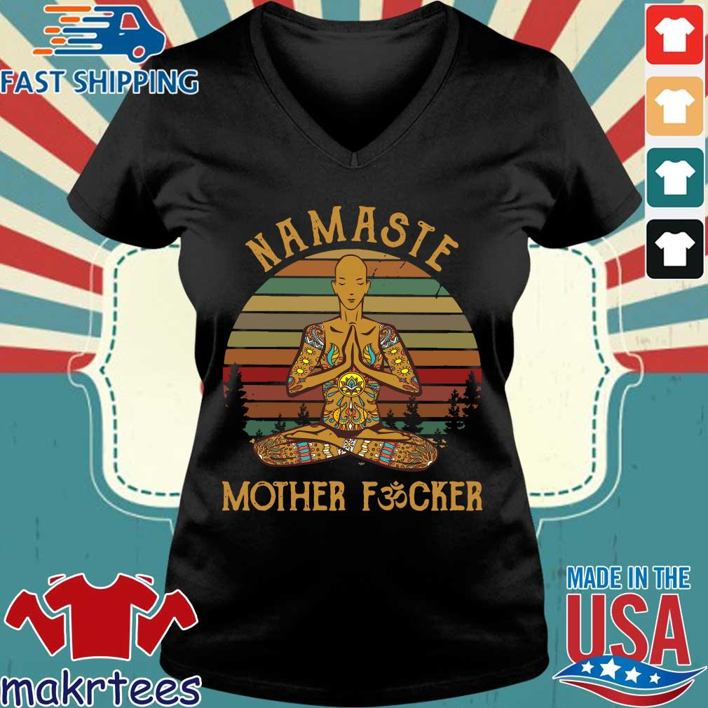 Yoga Namaste Mother Fucker Vintage Shirt Ladies V-neck den