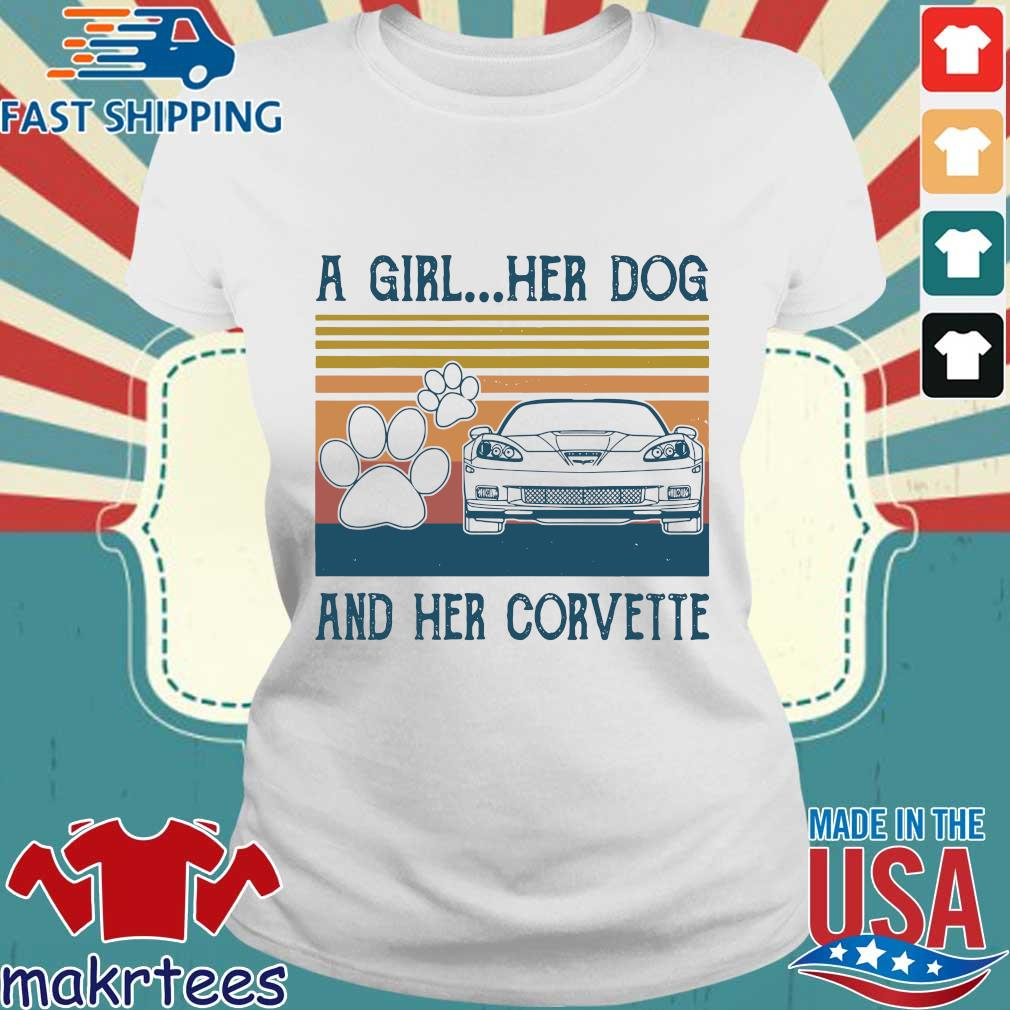 A Girl Her Dog And Her Corvette Vintage Shirt Ladies trang