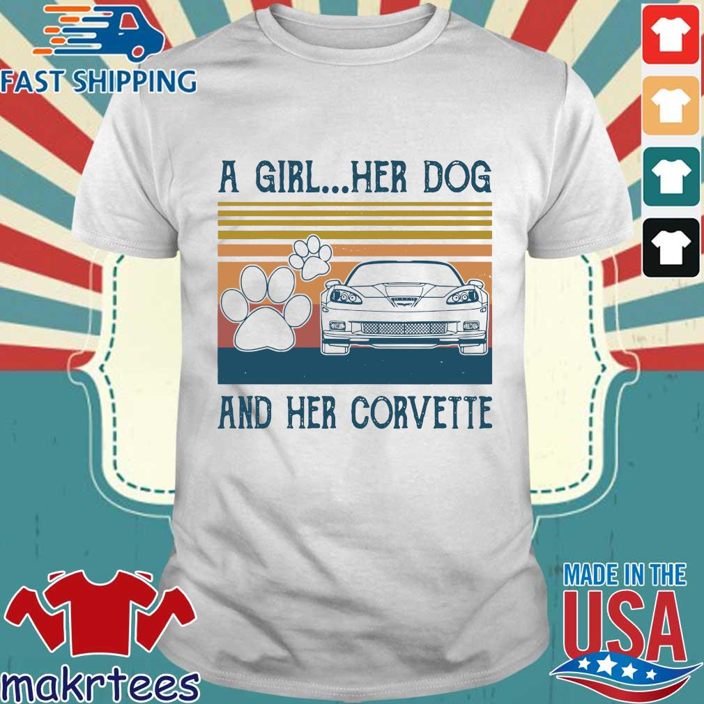 A Girl Her Dog And Her Corvette Vintage Shirt