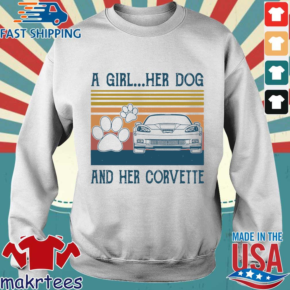 A Girl Her Dog And Her Corvette Vintage Shirt Sweater trang