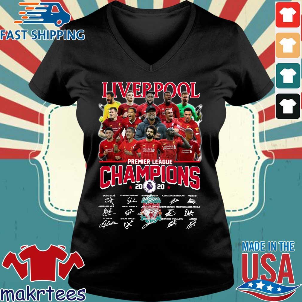 Liverpool Fc Premier League Champions 2020 Signature Shirt Ladies V-neck den