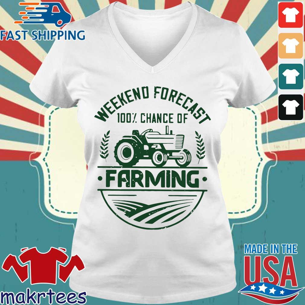 Weekend Forecast 100 Percent Chance Of Farming Shirt Ladies V-neck trang