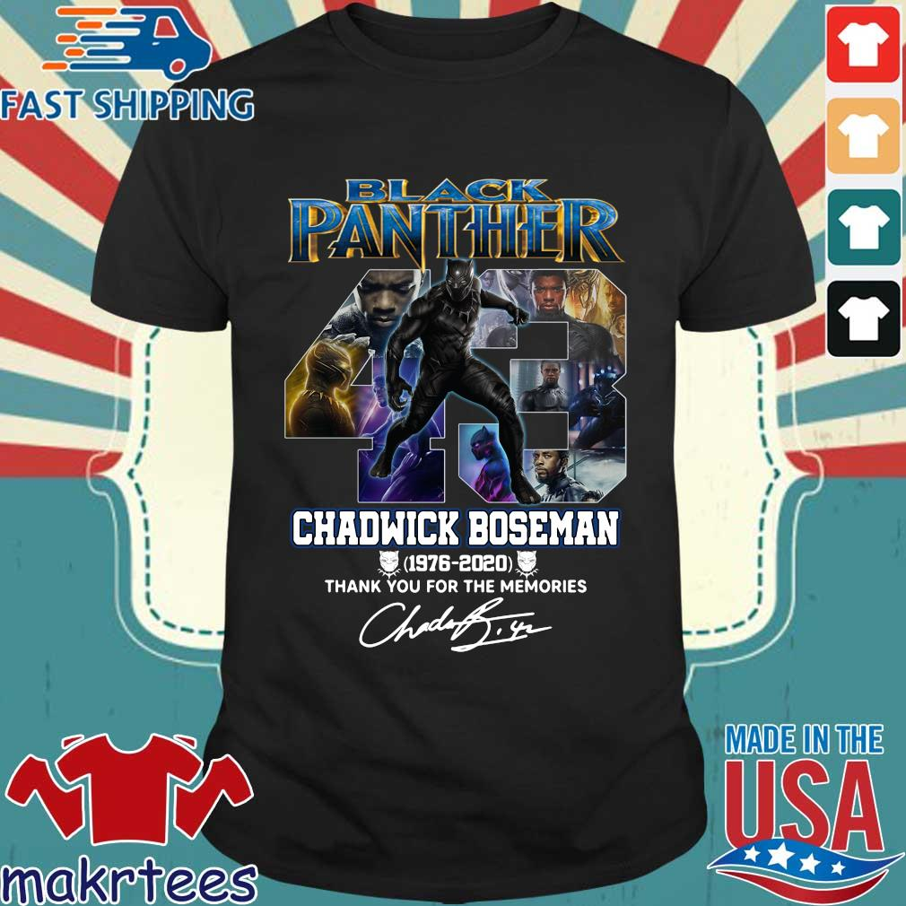 43 Black Panther Chadwick Boseman 1976 2020 Thank you for the memories signature shirt