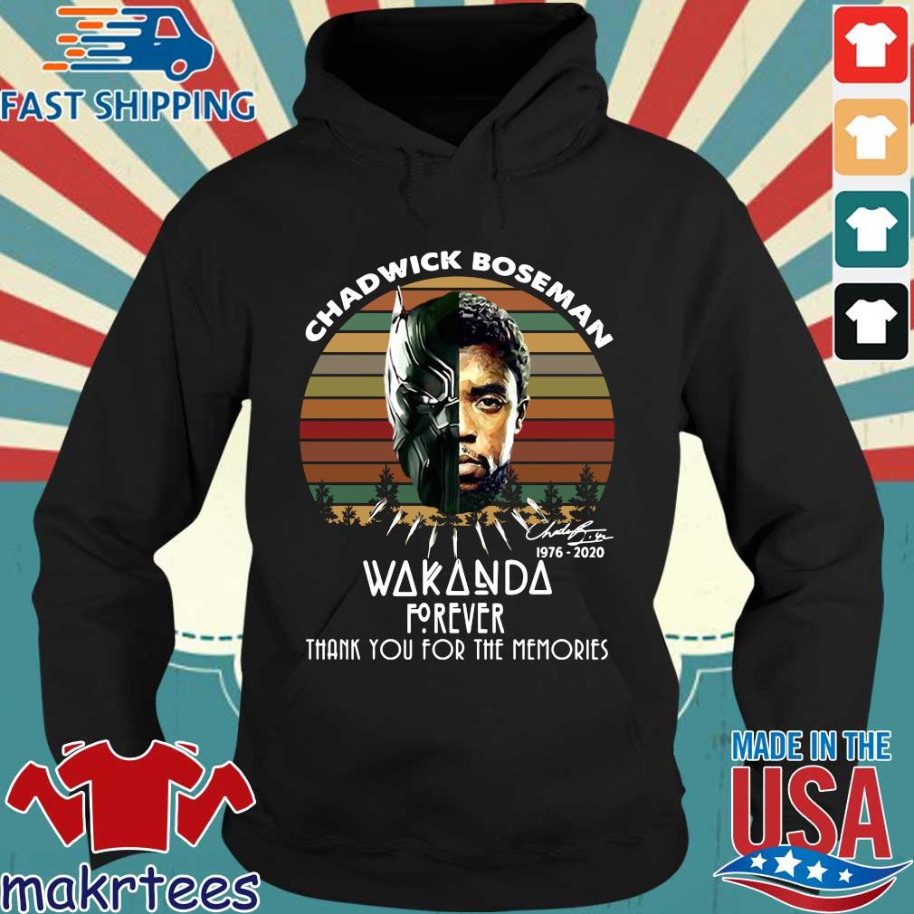 Chadwick Boseman 1976 2020 Wakanda forever signature thank you for the memories vintage s Hoodie den