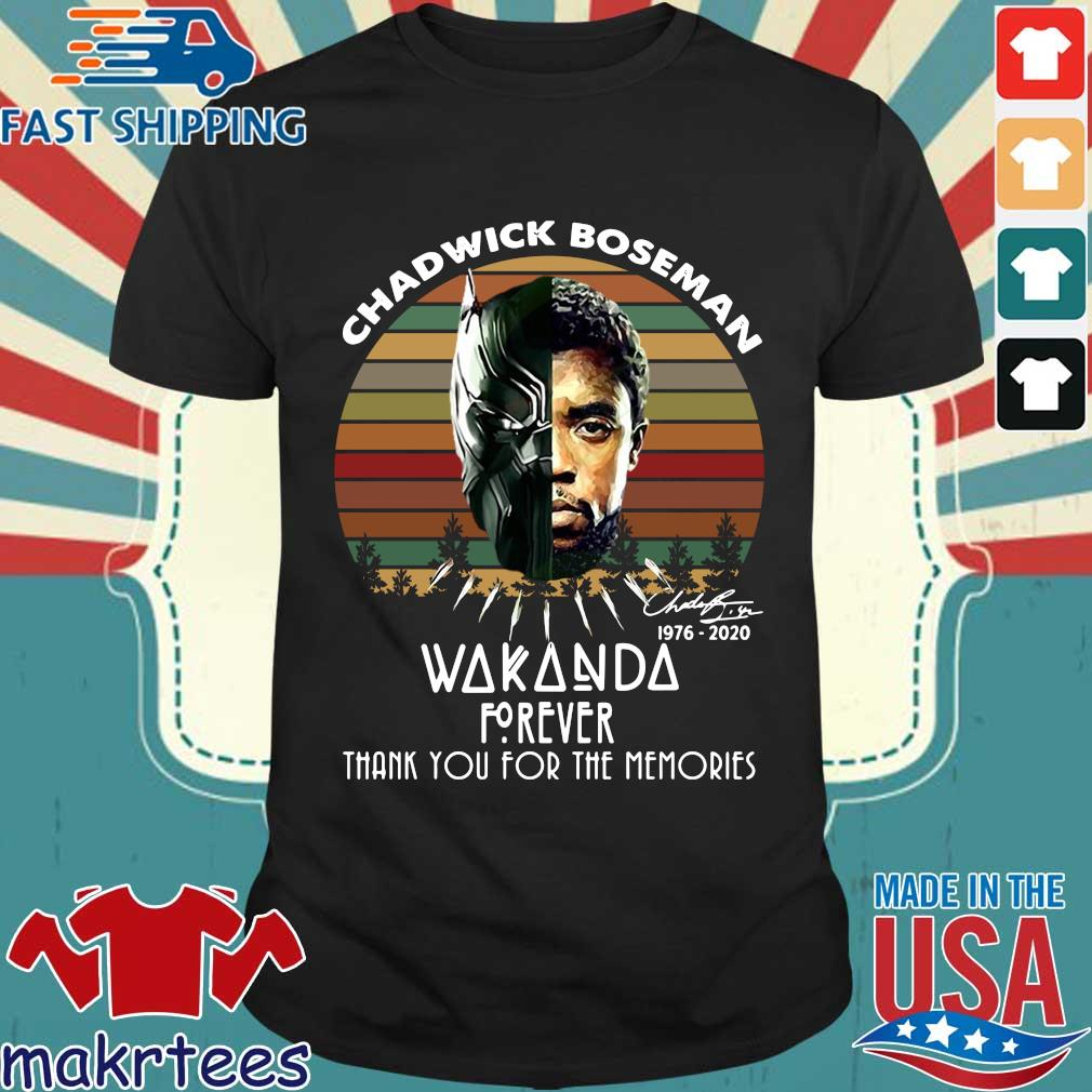Chadwick Boseman 1976 2020 Wakanda forever signature thank you for the memories vintage shirt