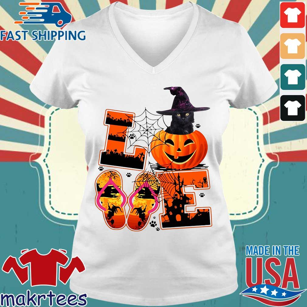 Love Halloween shorkie witch pumpkin s Ladies V-neck trang