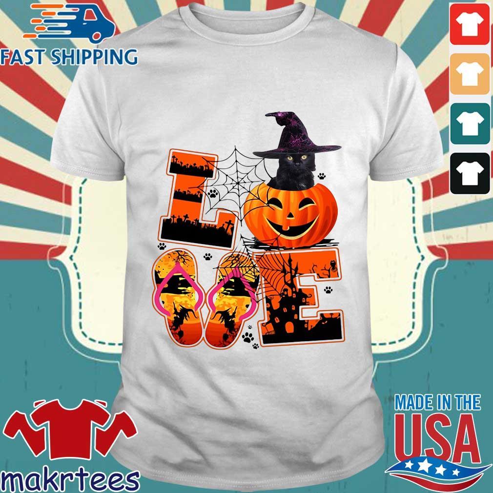 Love Halloween shorkie witch pumpkin shirt