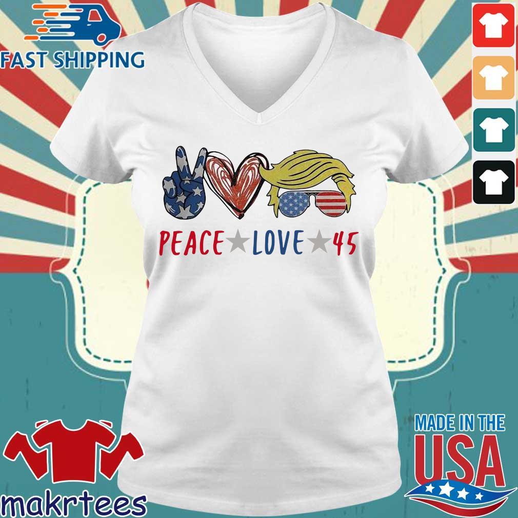 Peace love 45 Donald Trump s Ladies V-neck trang