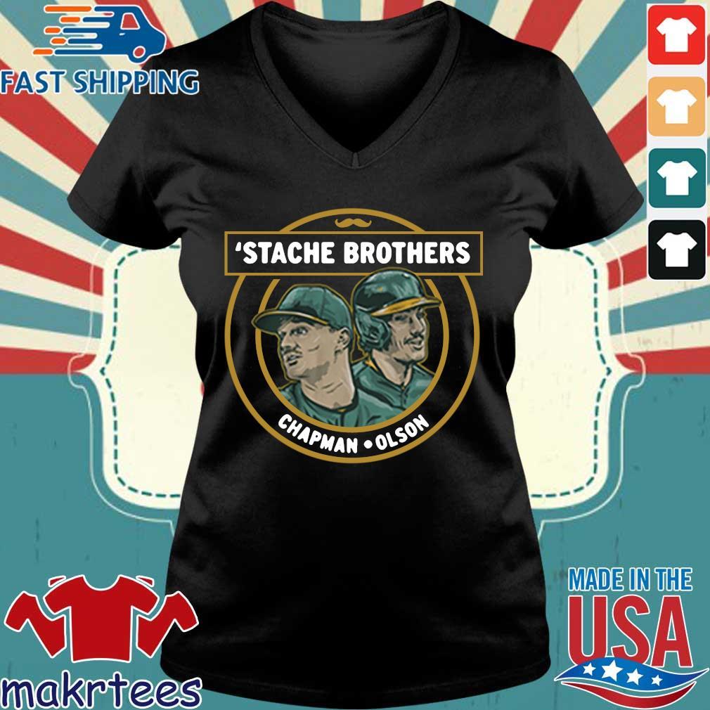 'Stache brothers matt chapman and matt Olson Oakland s Ladies V-neck den