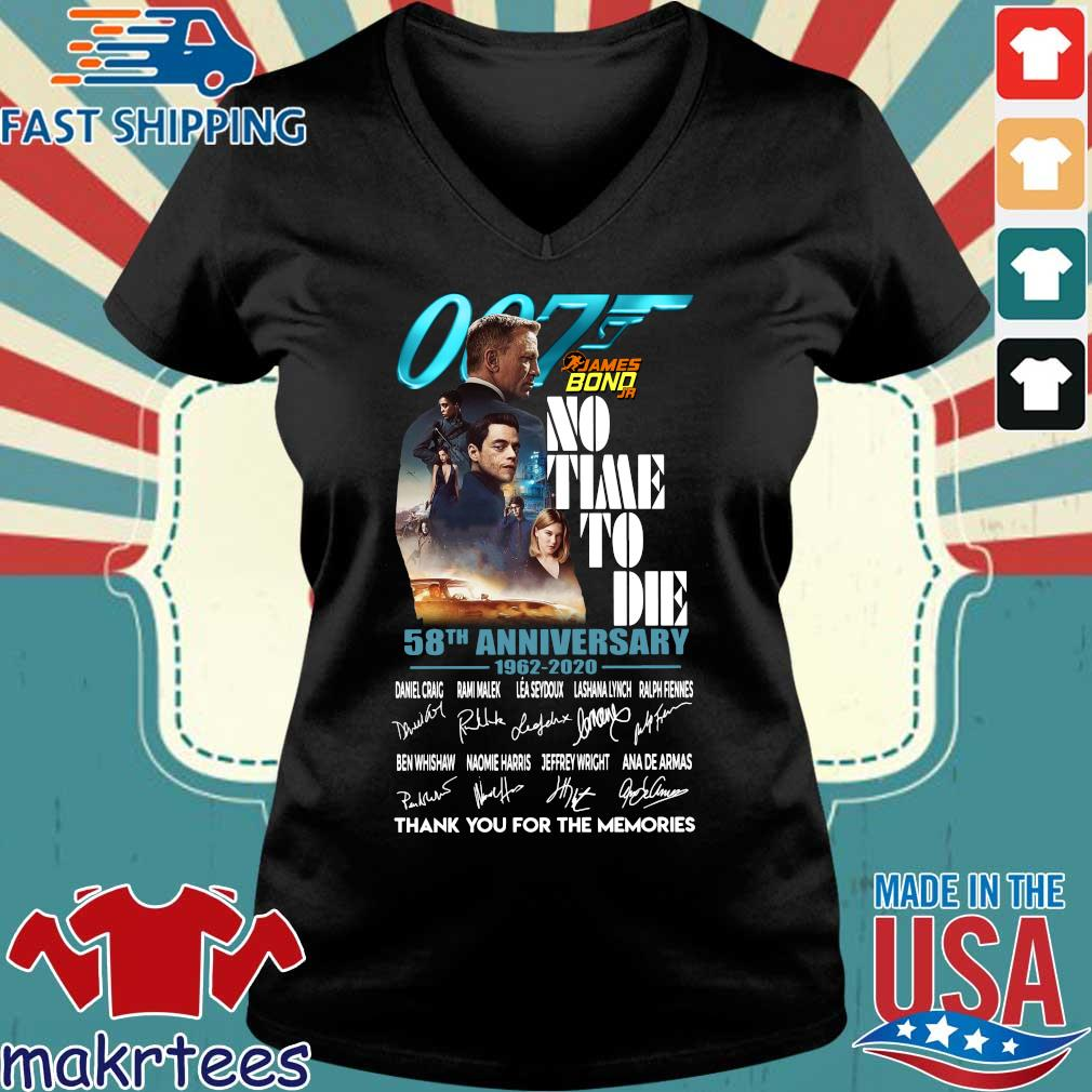 007 James Bond no time to die 58th anniversary 1962 2020 thank you for the memories signatures s Ladies V-neck den